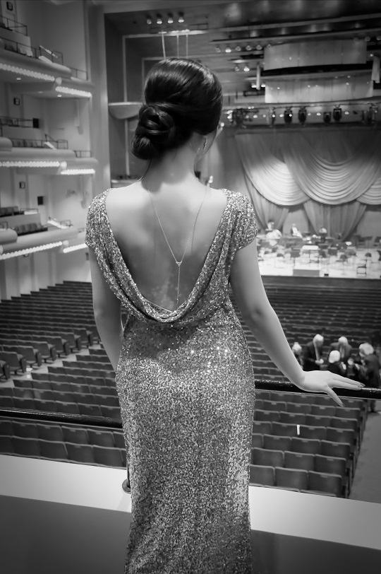 necklace open back gown