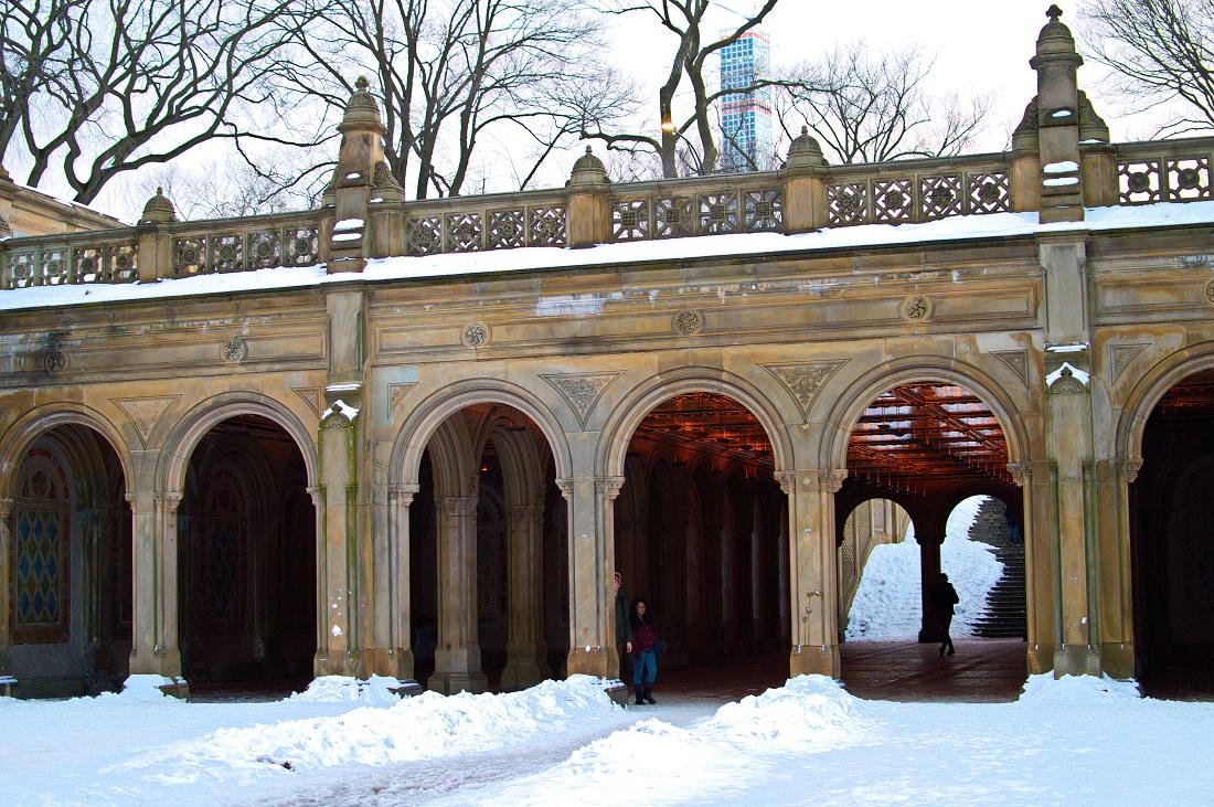 central park bethesda terrace arcade snow