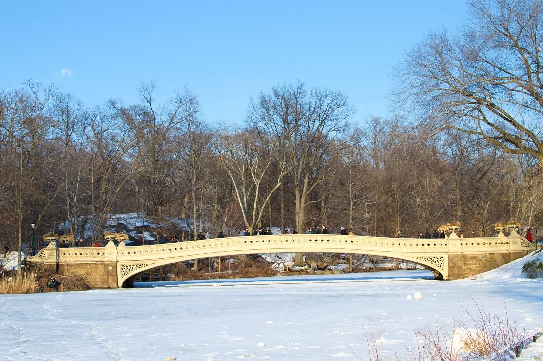 central park bow bridge snow