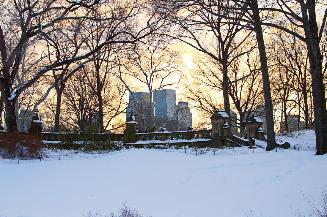 central park winter snow sunset
