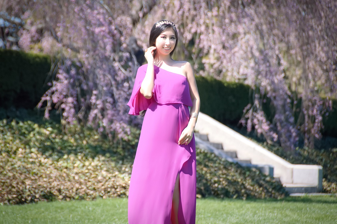 Shruthi In A Dreamy One Shoulder Pronovias Dress: Orchid Enchantment