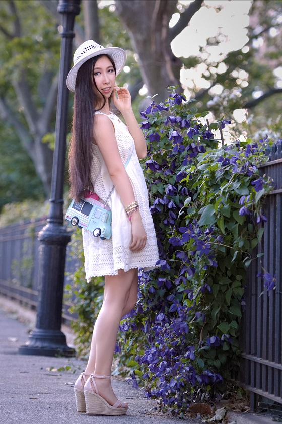 white dress white hat wedge sandals