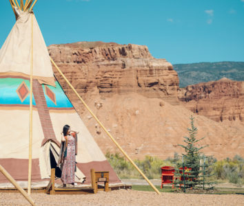Teepees under the Red Cliffs